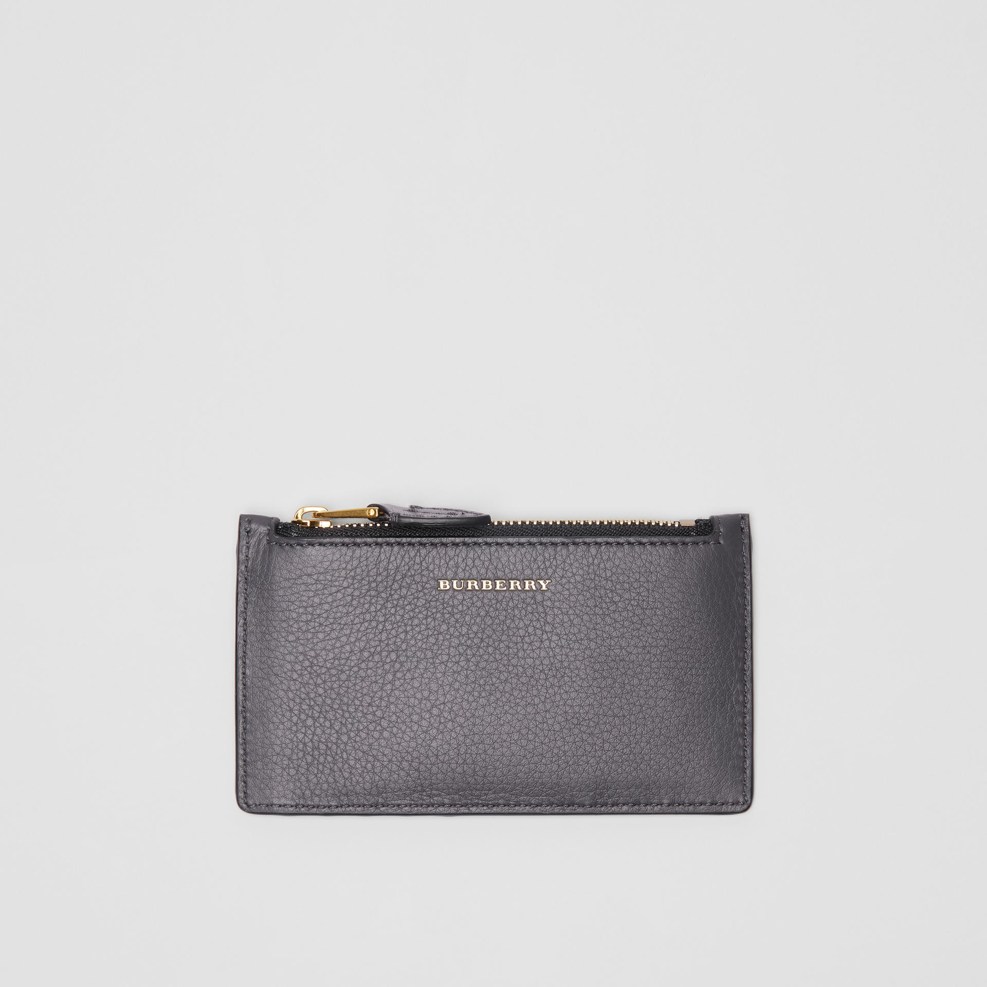Two-tone Leather Card Case in Charcoal Grey - Women | Burberry - gallery image 0