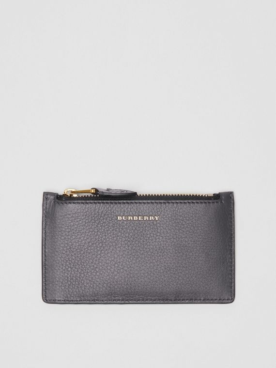 Two-tone Leather Card Case in Charcoal Grey
