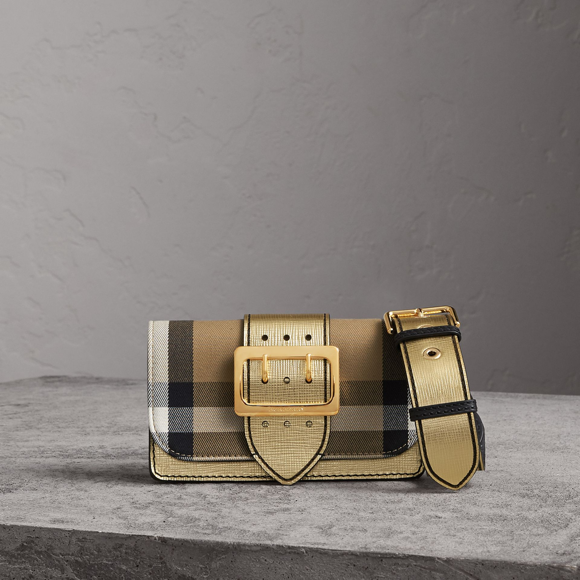 The Small Buckle Bag in House Check and Leather in Gold - Women | Burberry - gallery image 0