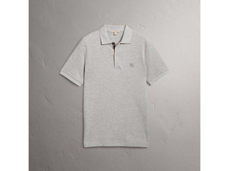 Check Placket Cotton Piqué Polo Shirt in Pale Grey Melange - Men | Burberry - cell image 4