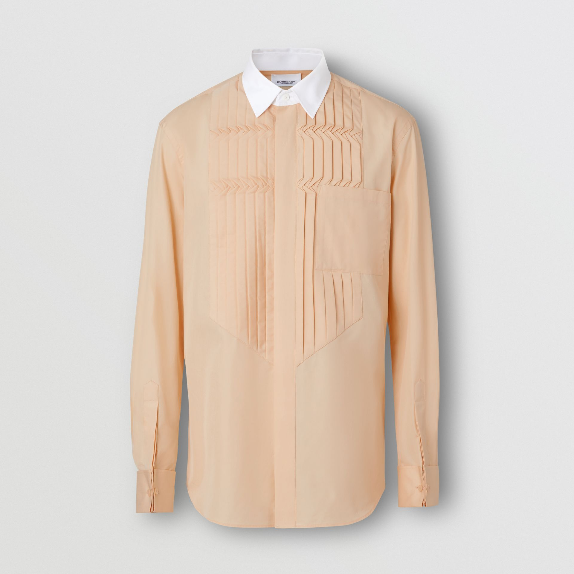 Classic Fit Pleated Bib Cotton Poplin Dress Shirt in Buttermilk - Men | Burberry - gallery image 3
