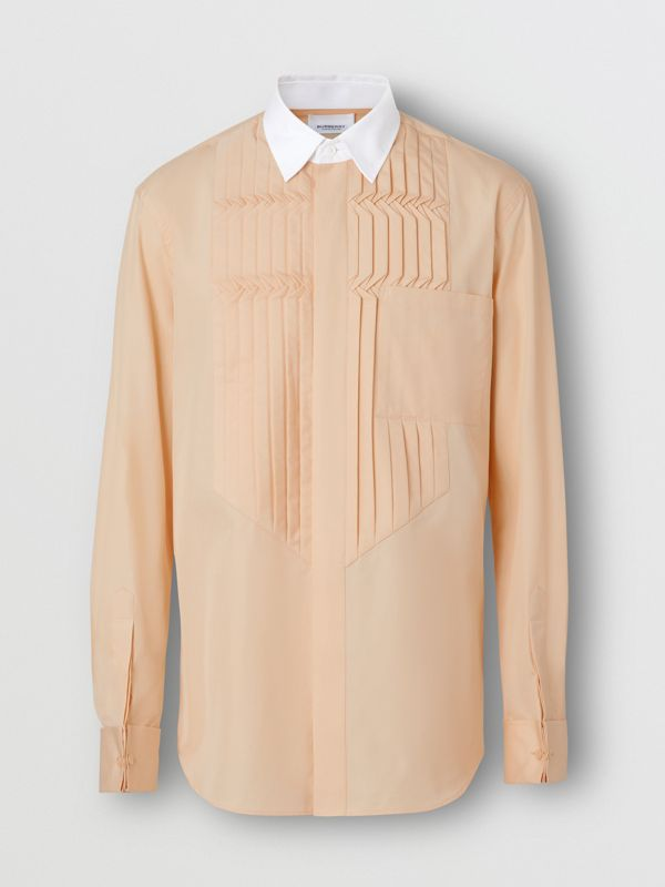 Classic Fit Pleated Bib Cotton Poplin Dress Shirt in Buttermilk - Men | Burberry Australia - cell image 3
