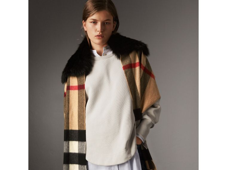 Fox Fur Trim Check Cashmere Scarf in Camel/black - Women | Burberry - cell image 4