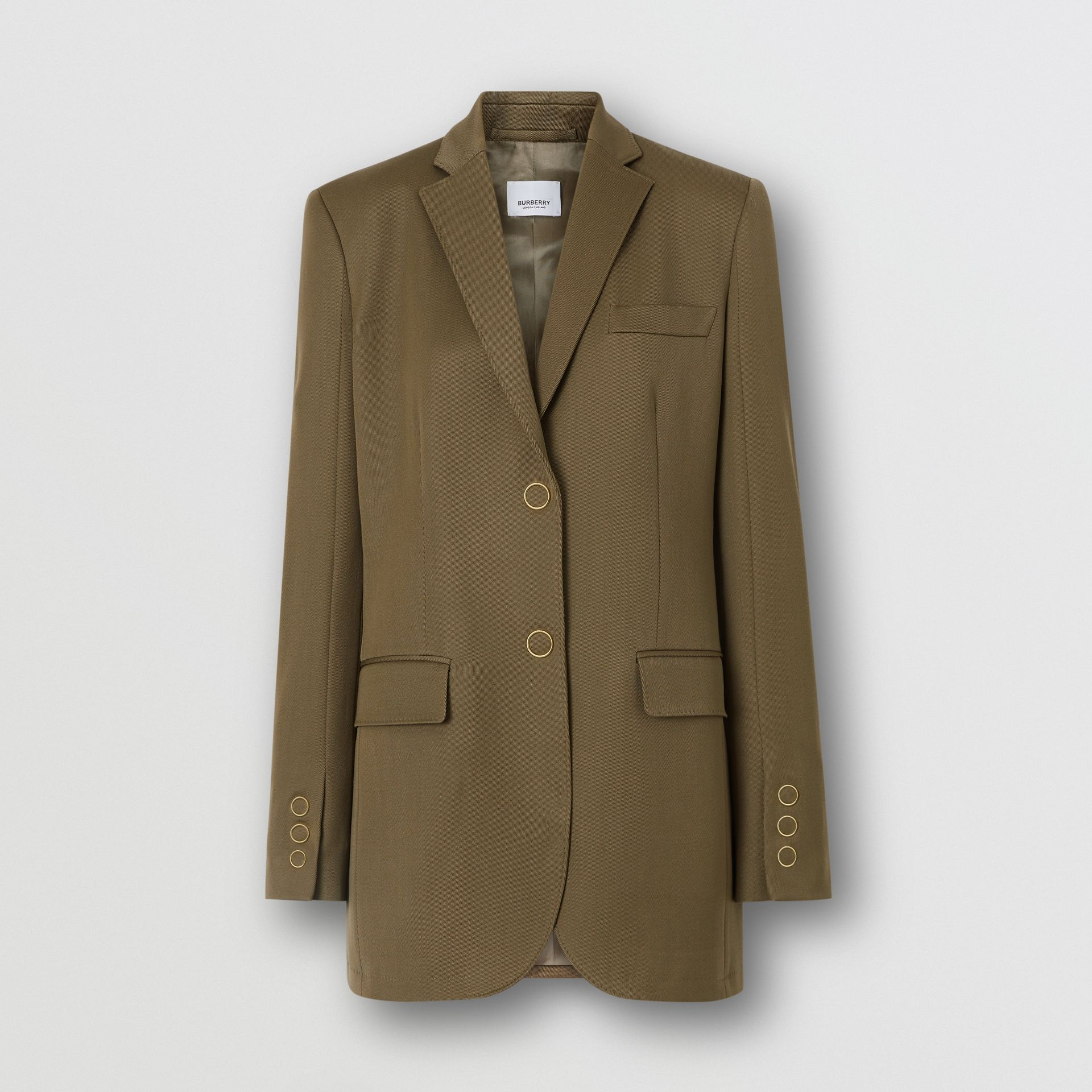 Press-stud Wool Twill Tailored Jacket in Warm Taupe - Women | Burberry United Kingdom - gallery image 3