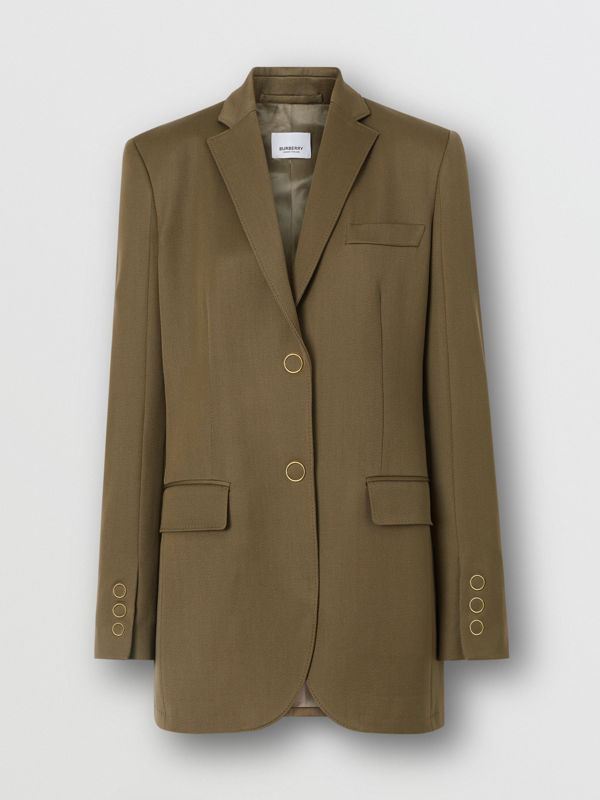 Press-stud Wool Twill Tailored Jacket in Warm Taupe - Women | Burberry - cell image 3
