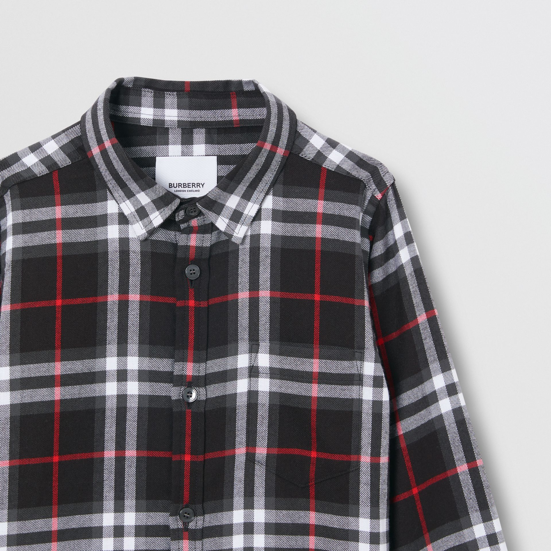 Vintage Check Cotton Flannel Shirt in Black | Burberry United States - gallery image 4