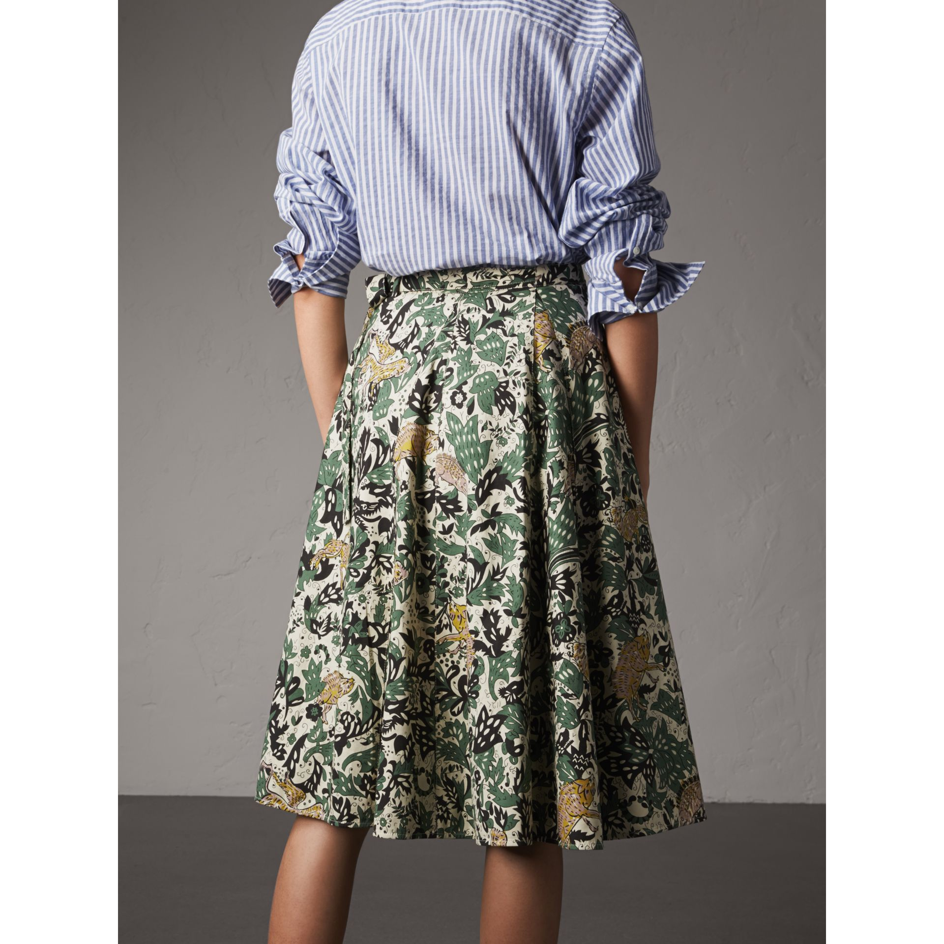 Beasts Print Cotton Wrap Skirt - Women | Burberry - gallery image 3