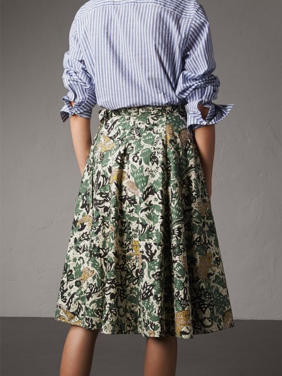 Beasts Print Cotton Wrap Skirt - Women | Burberry - cell image 2