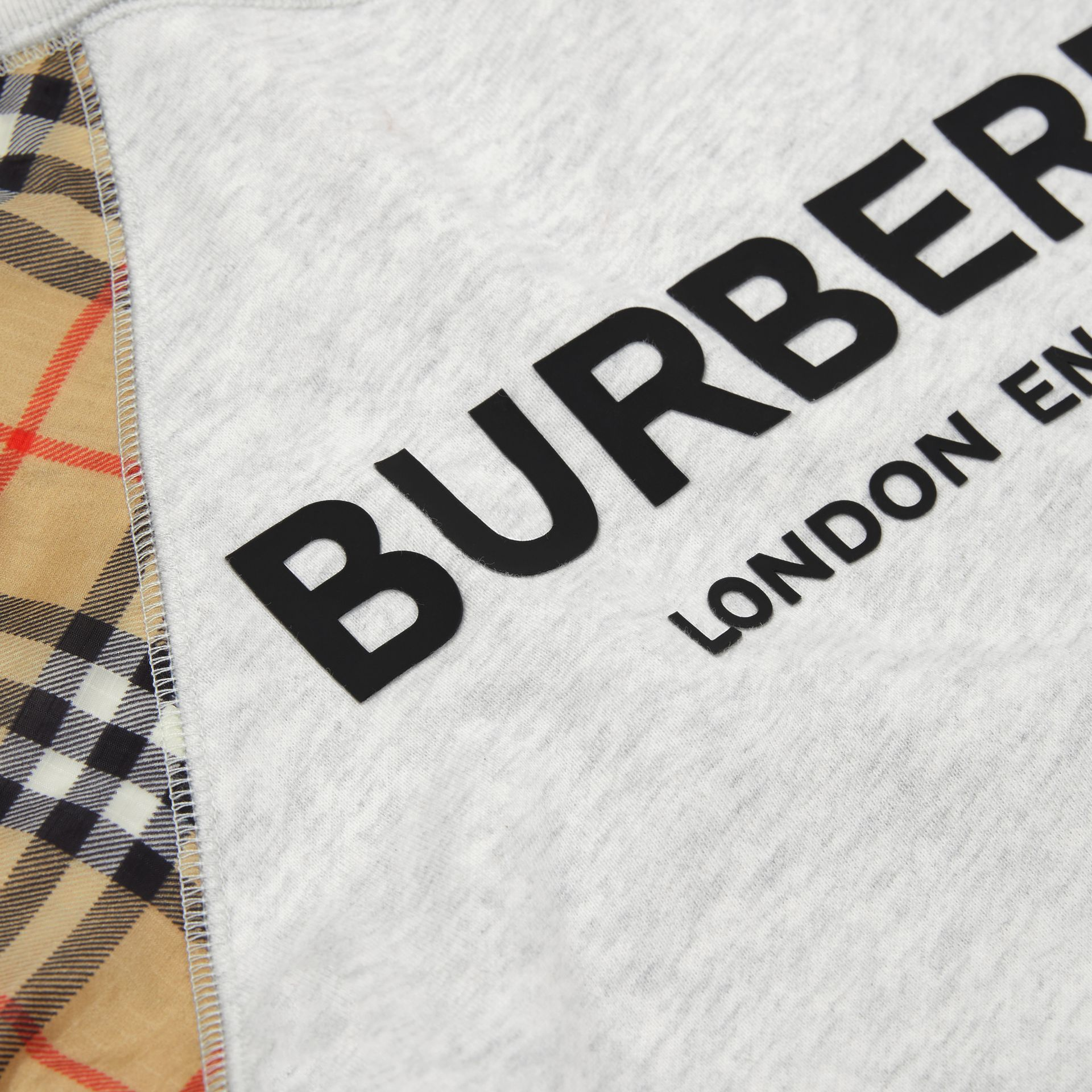 Vintage Check Detail Logo Print Cotton Sweatshirt in White Melange | Burberry - gallery image 1