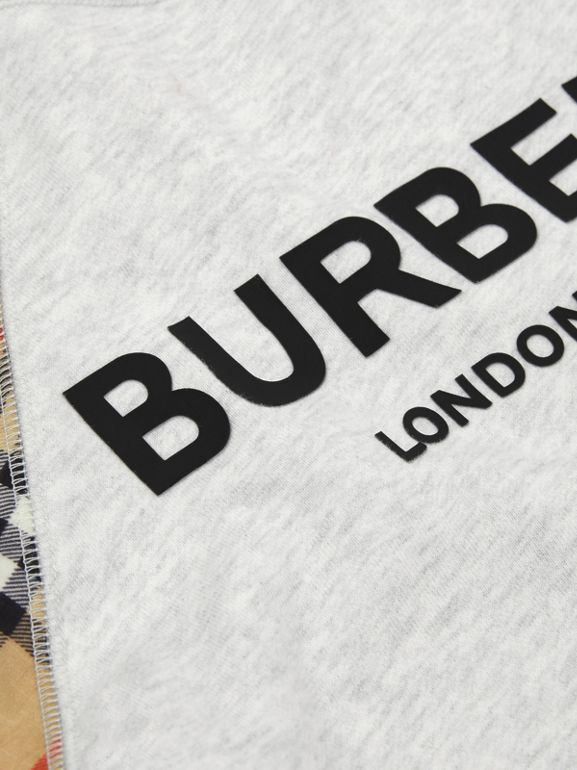 Vintage Check Detail Logo Print Cotton Sweatshirt in White Melange | Burberry - cell image 1