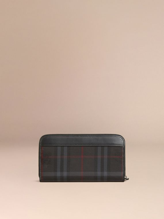 Horseferry Check Ziparound Wallet in Charcoal/black - cell image 2