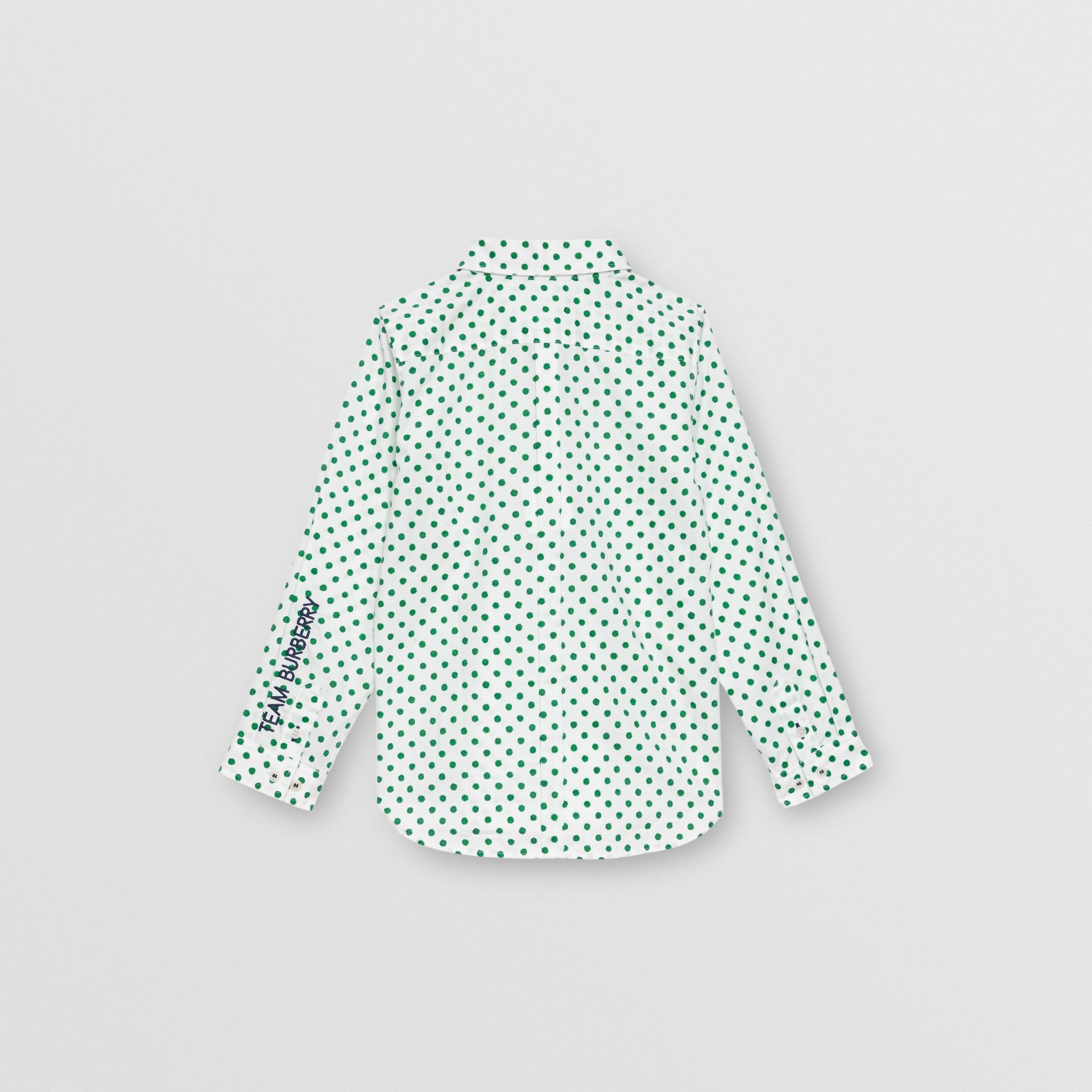 Polka Dot Cotton Oxford Shirt in Emerald Green | Burberry United Kingdom - gallery image 3