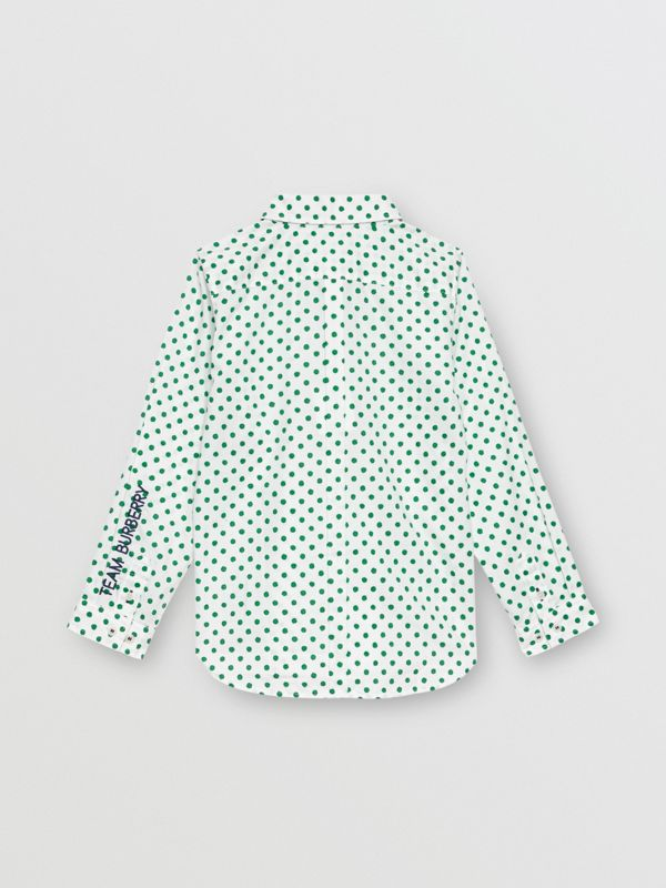Polka Dot Cotton Oxford Shirt in Emerald Green | Burberry United Kingdom - cell image 3