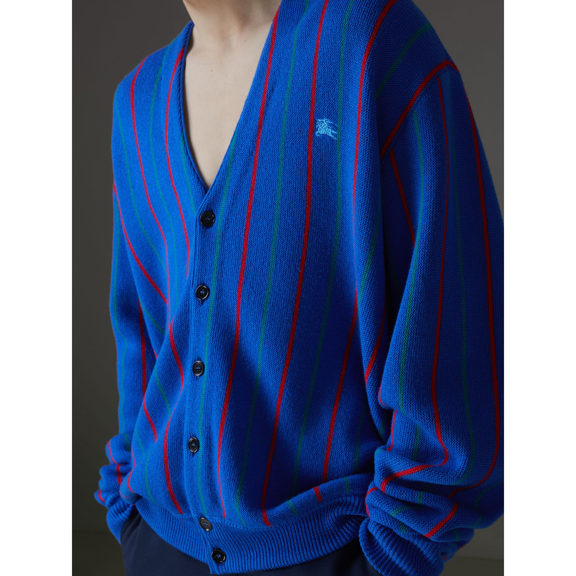 Reissued Striped Wool Cardigan in Royal Blue - Men | Burberry United States - gallery image 1