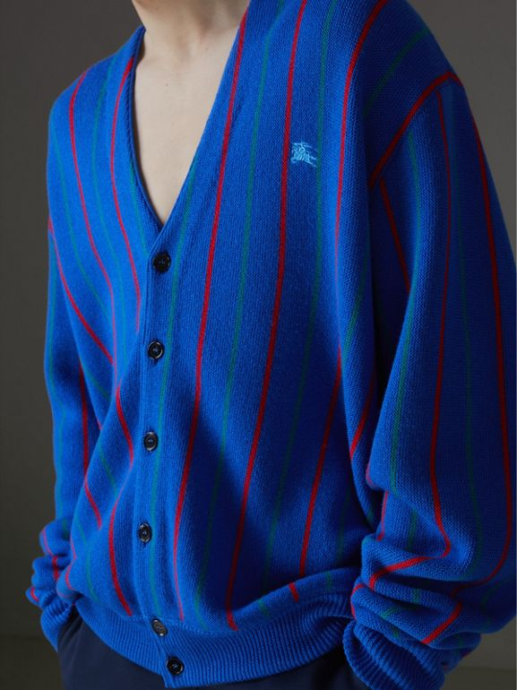 Reissued Striped Wool Cardigan in Royal Blue - Men | Burberry United States - cell image 1