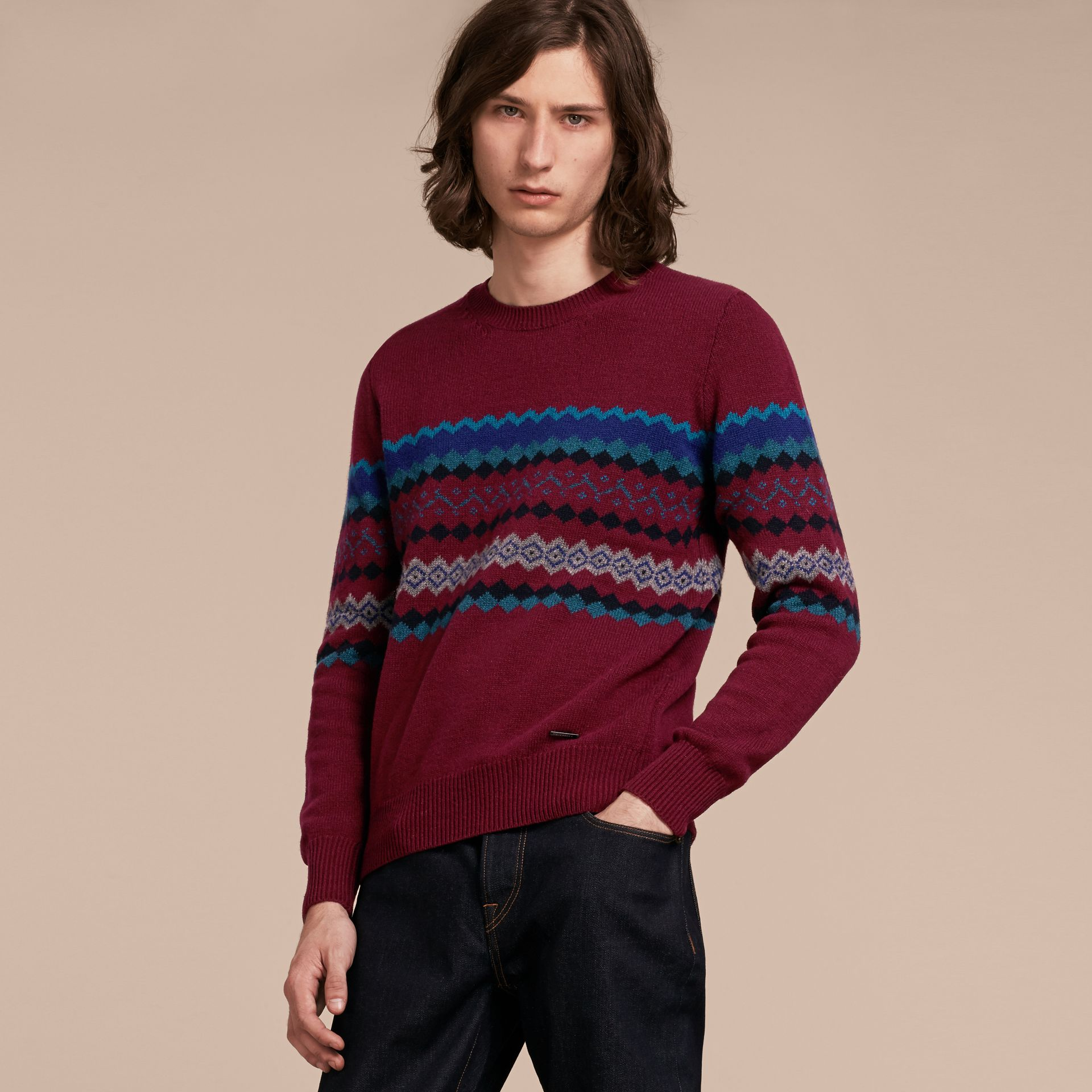 Burgundy Fair Isle Intarsia Cashmere Wool Sweater - gallery image 6
