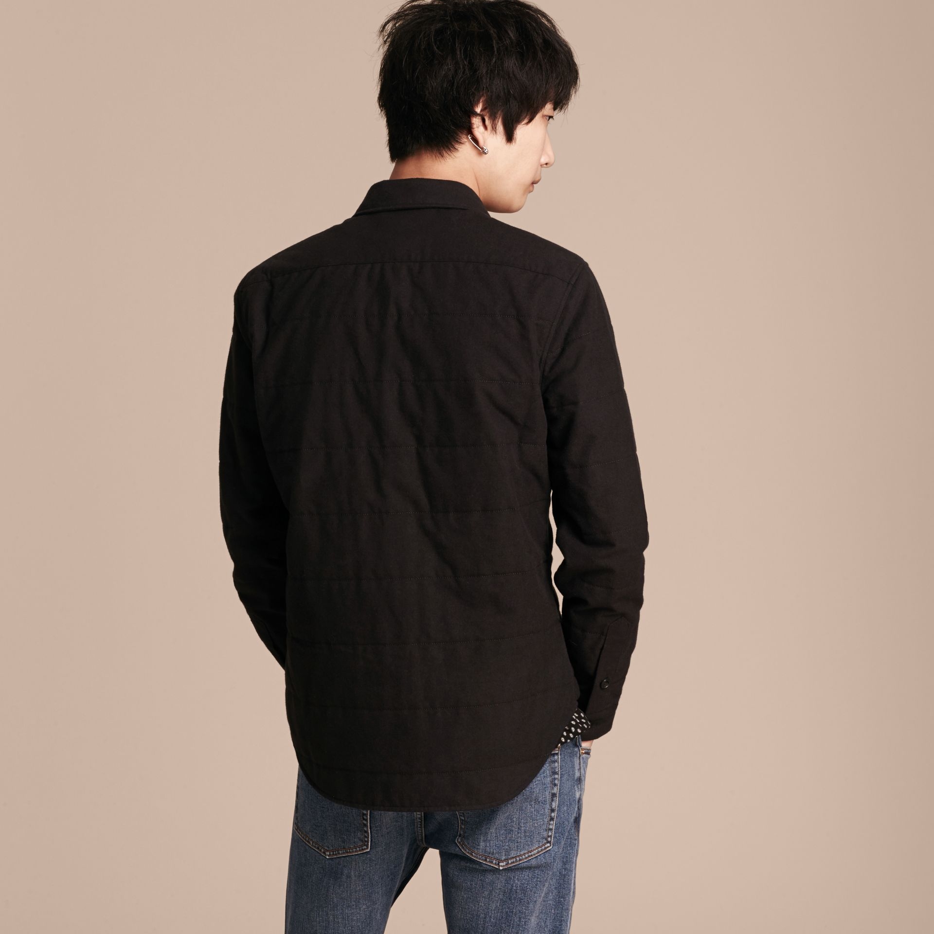 Black melange Wadded Cotton Wool Overshirt - gallery image 3