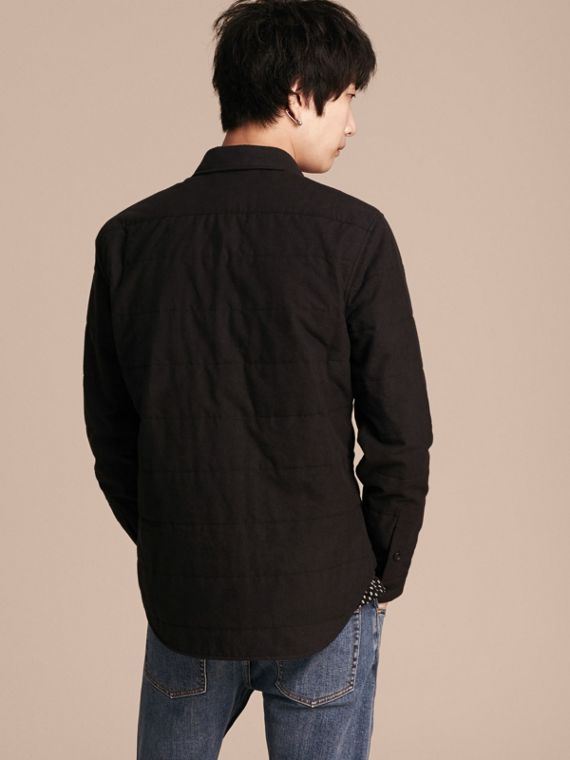 Black melange Wadded Cotton Wool Overshirt - cell image 2