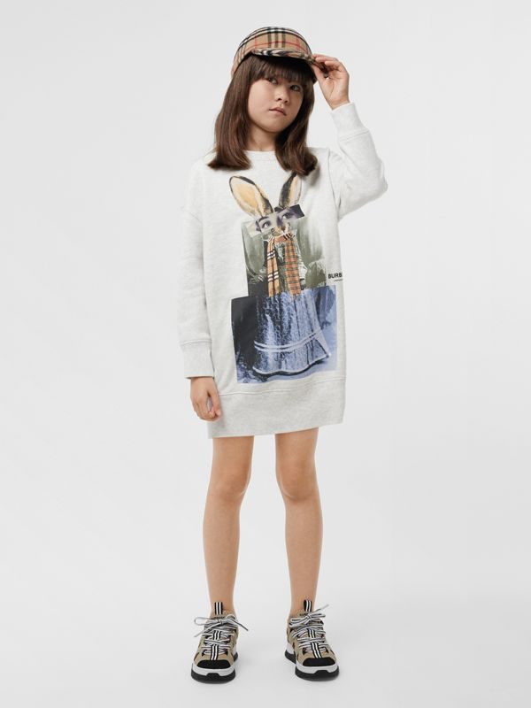 Collage Print Cotton Blend Sweater Dress in White Melange | Burberry - cell image 2