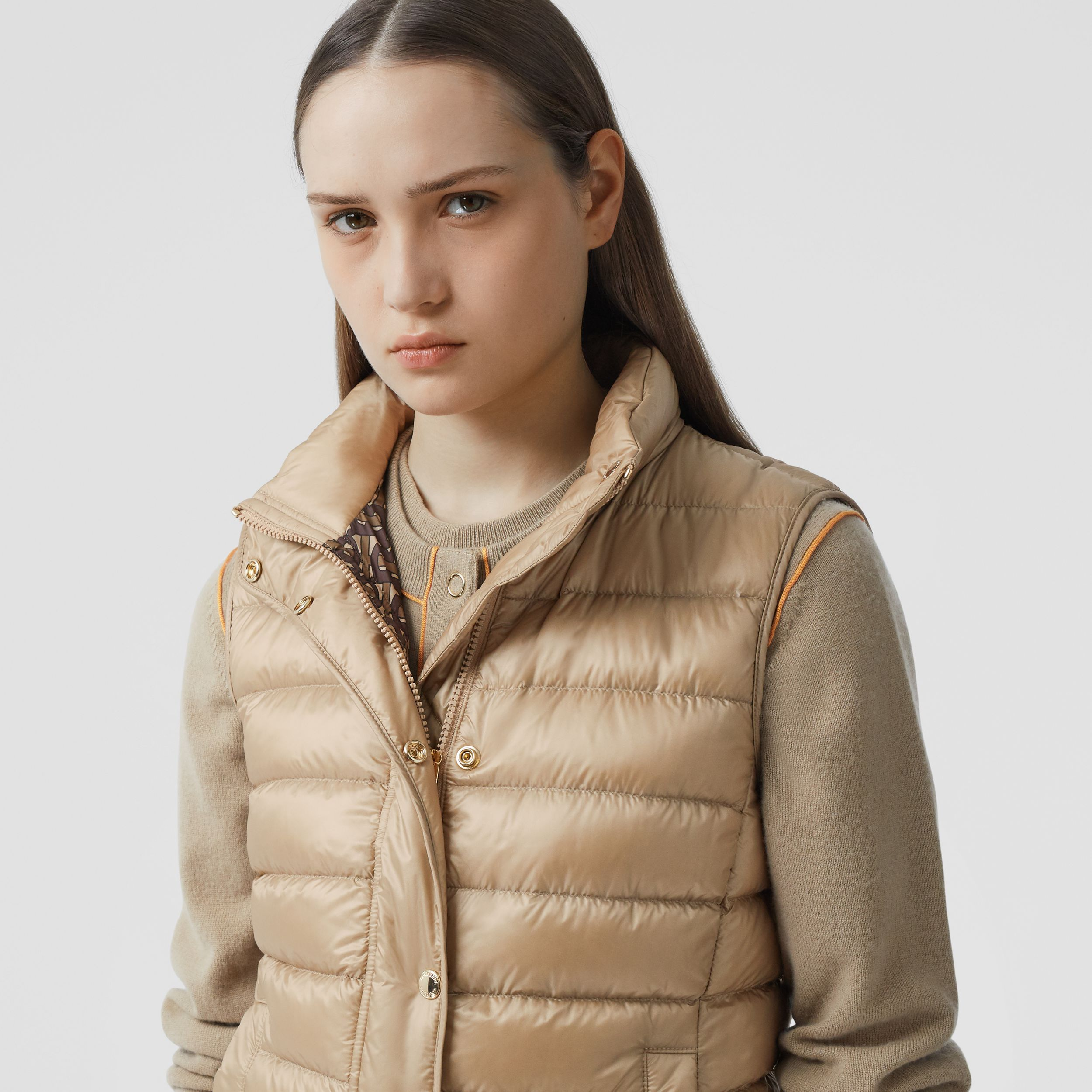 Monogram Print-lined Lightweight Puffer Gilet in Honey - Women | Burberry - 2
