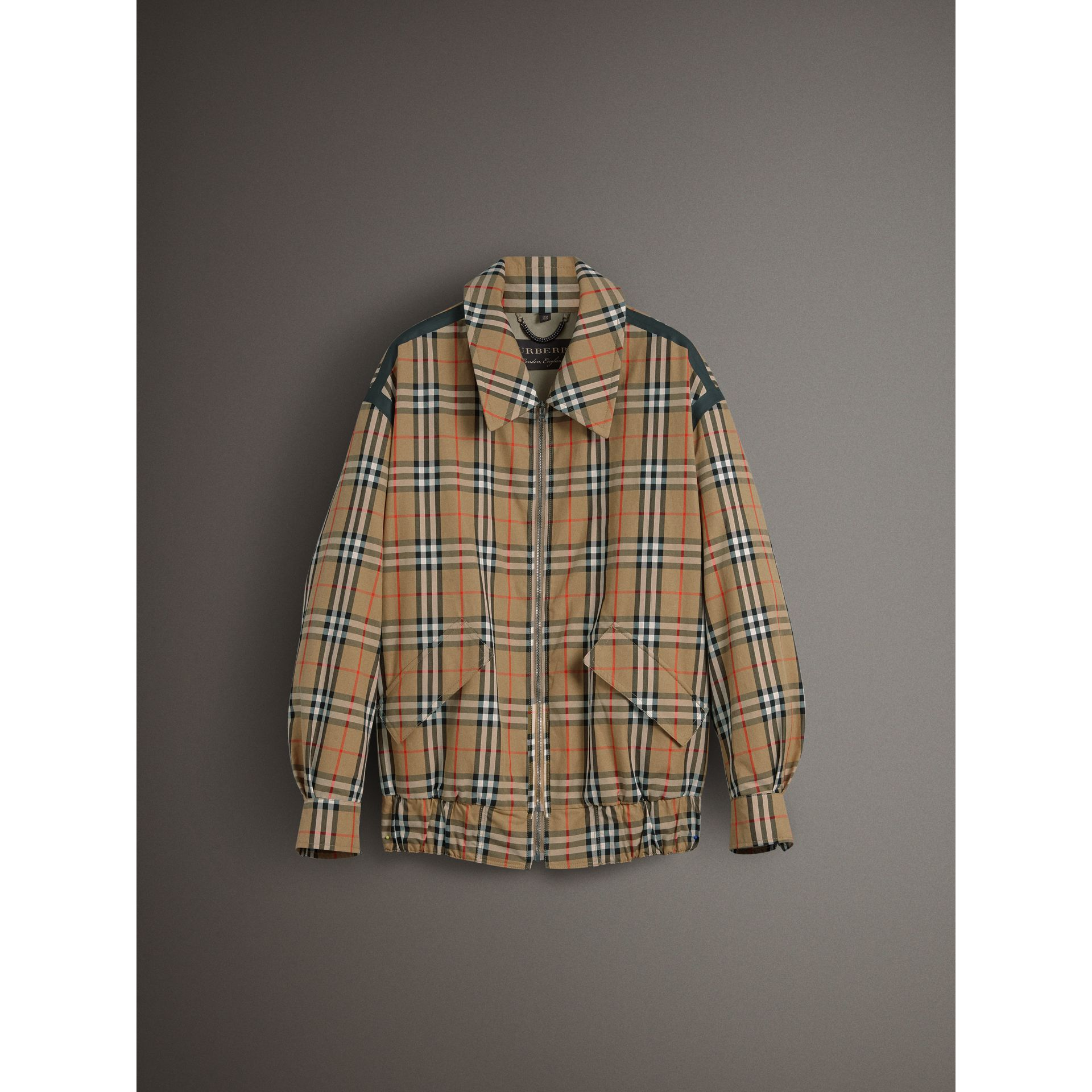 Vintage Check Gabardine Harrington Jacket in Antique Yellow - Women | Burberry - gallery image 4