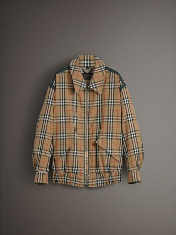 Vintage Check Gabardine Harrington Jacket in Antique Yellow - Women | Burberry - cell image 3