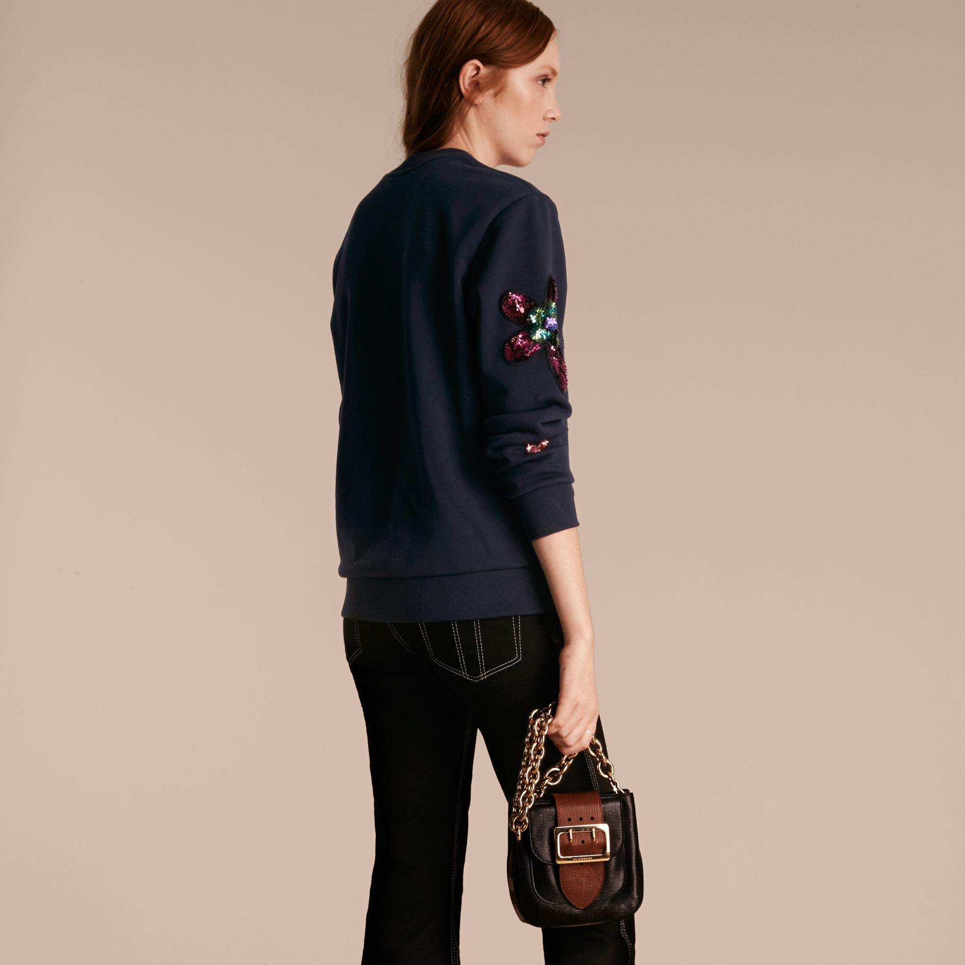 Navy Sequin Floral Appliqué Cotton Sweatshirt - gallery image 3
