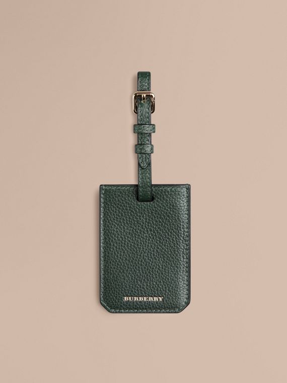 Grainy Leather Luggage Tag Dark Forest Green