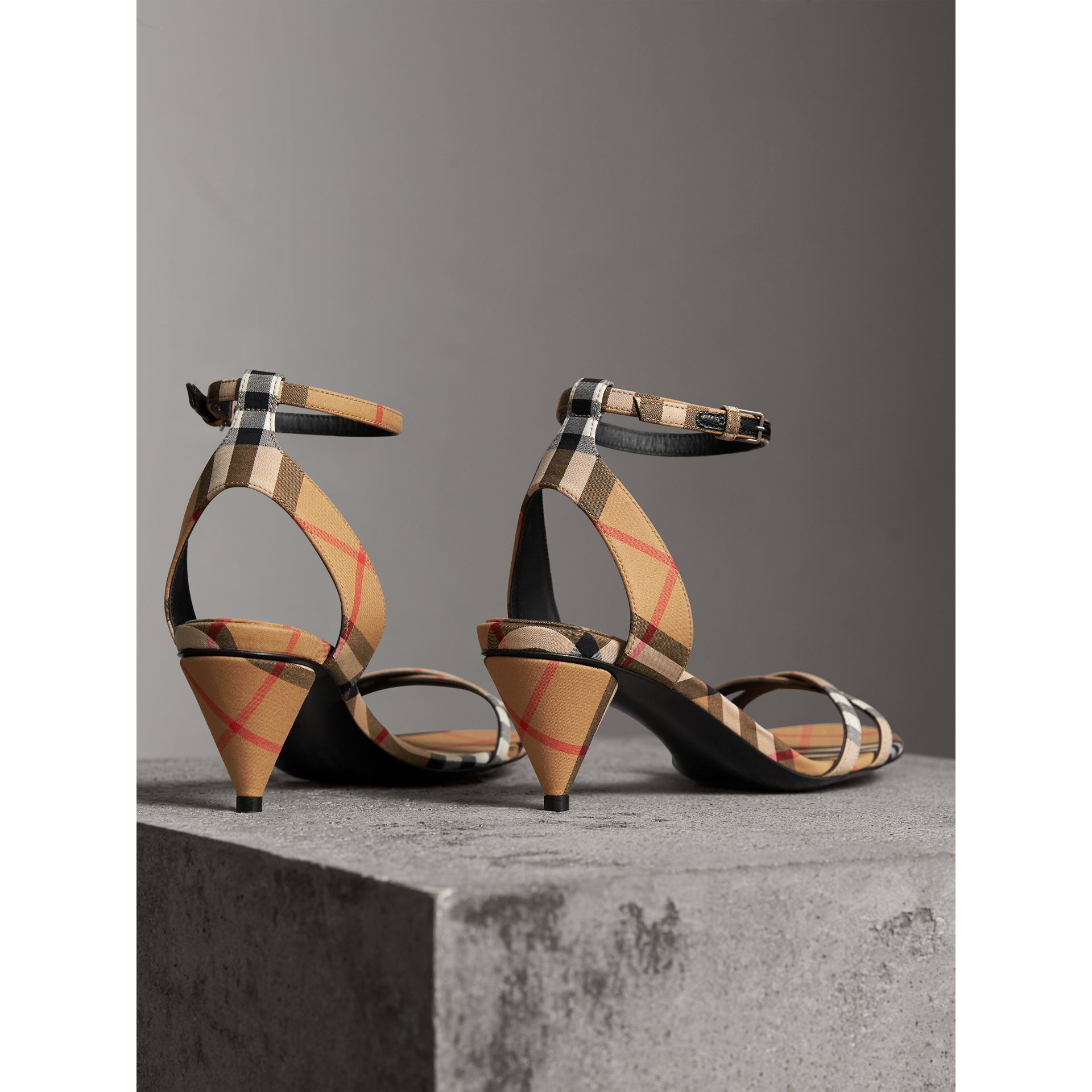Vintage Check Cotton Cone-heel Sandals in Antique Yellow - Women | Burberry - gallery image 3