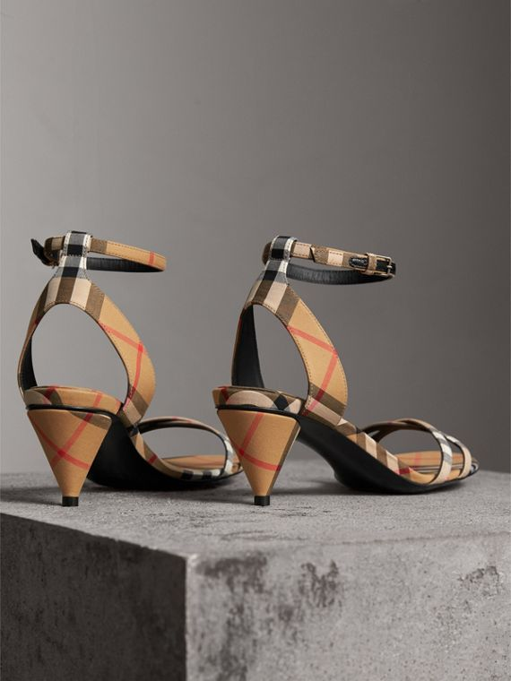 Vintage Check Cotton Cone-heel Sandals in Antique Yellow - Women | Burberry Singapore - cell image 3