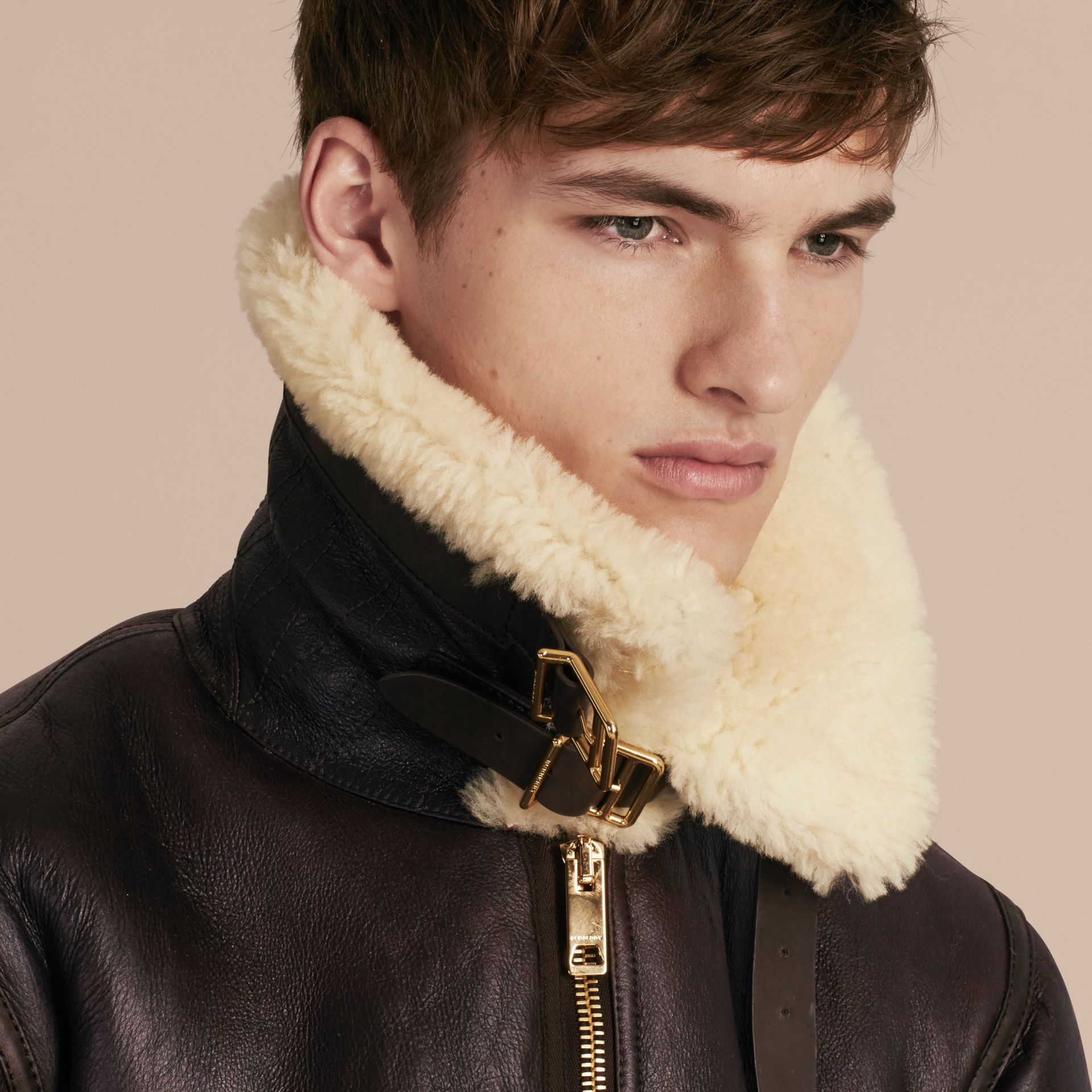 Dark cognac Shearling Aviator Jacket - gallery image 5