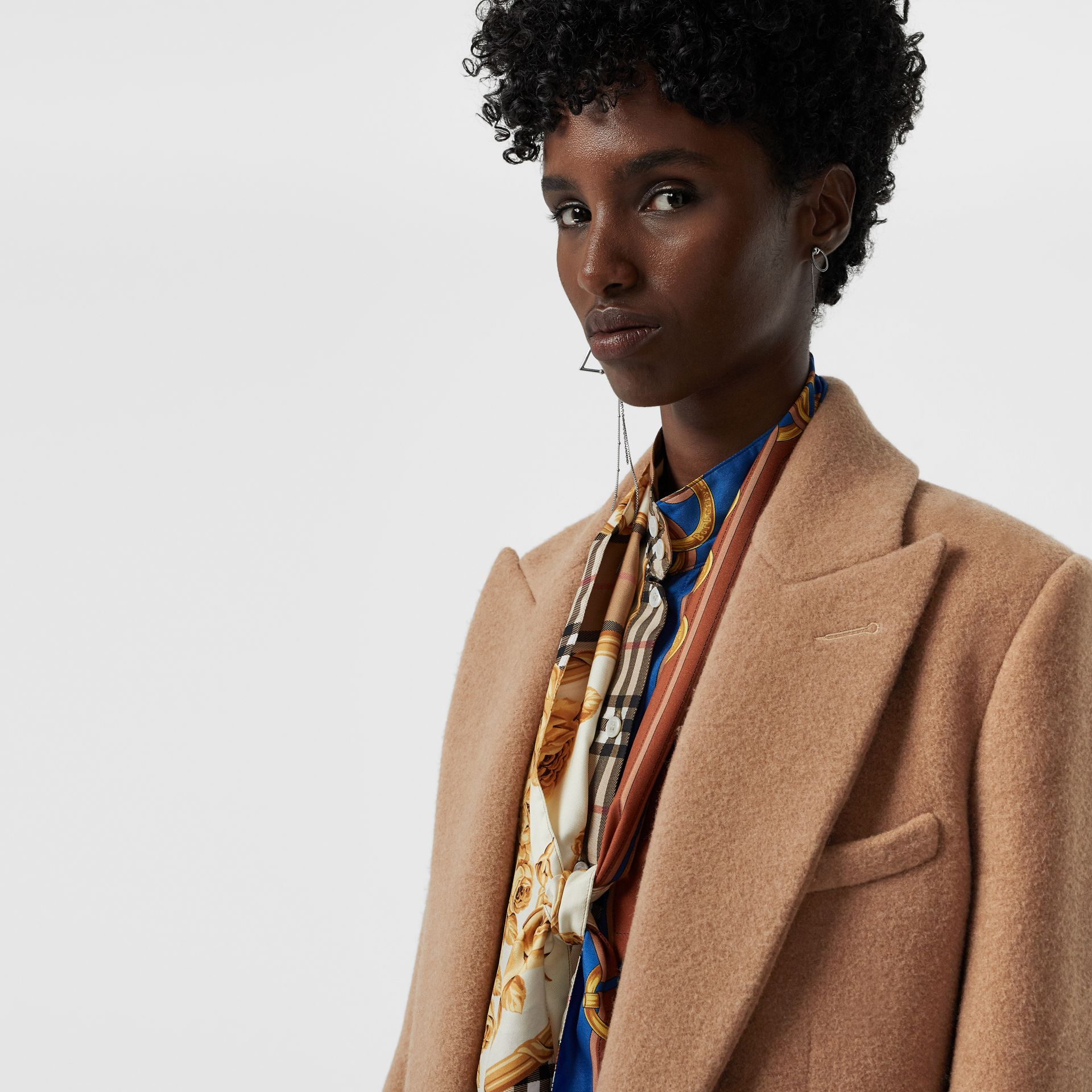 Oversized Lapel Camel Hair Tailored Coat - Women | Burberry - gallery image 6