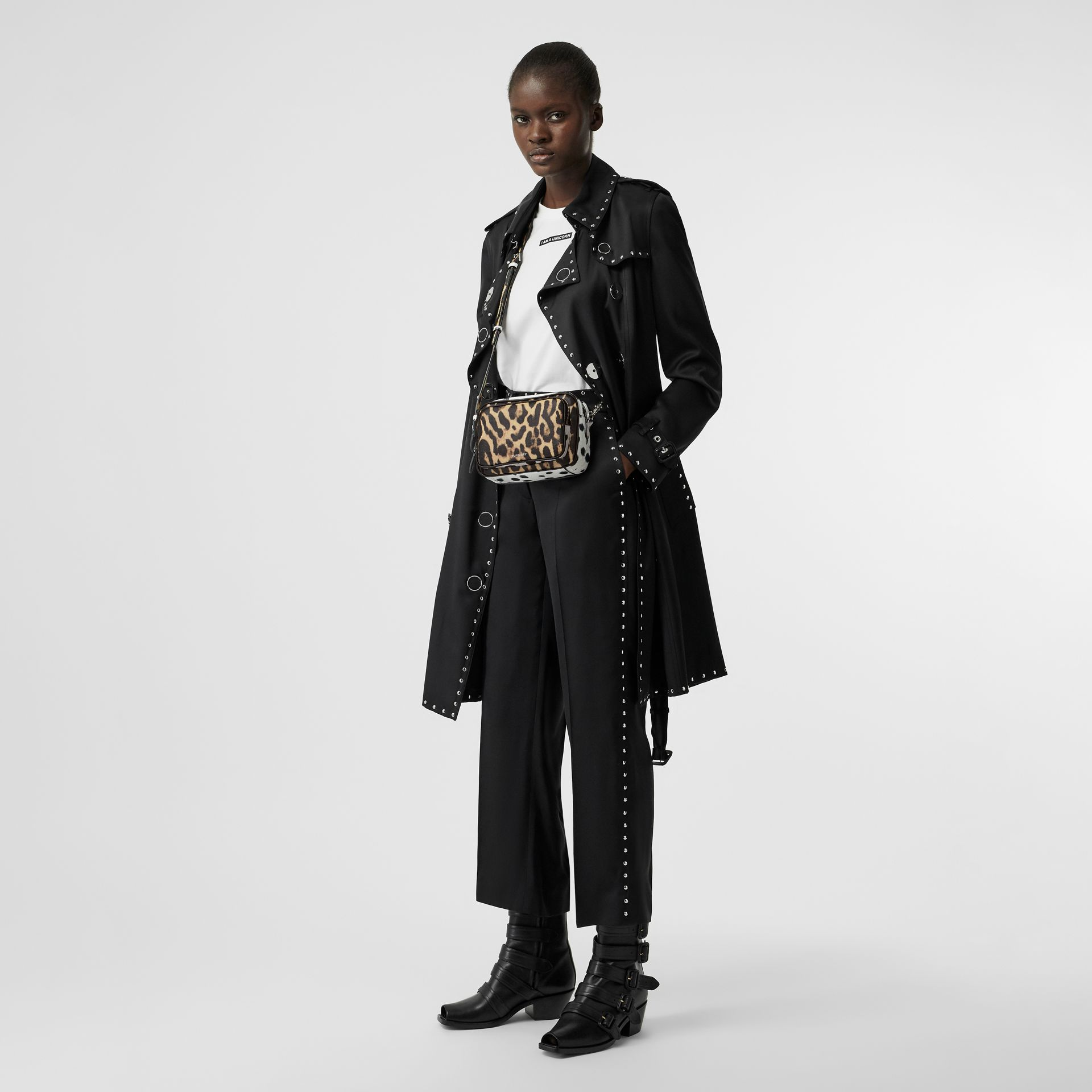Animal Print Leather Camera Bag in Honey/black - Women   Burberry - gallery image 4