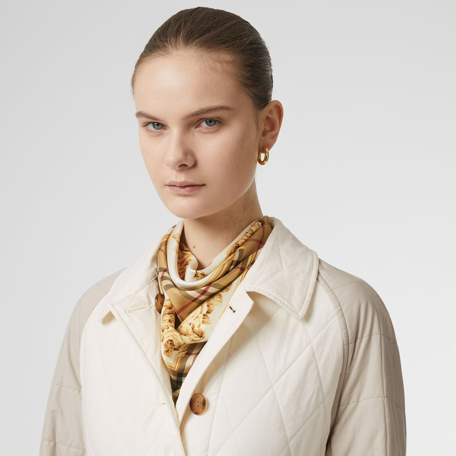 Reversible Contrast Sleeve Quilted Cotton Car Coat in Natural White - Women | Burberry - gallery image 1
