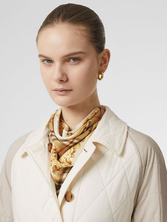 Car coat reversibile in cotone trapuntato con maniche a contrasto (Bianco Naturale) - Donna | Burberry - cell image 1