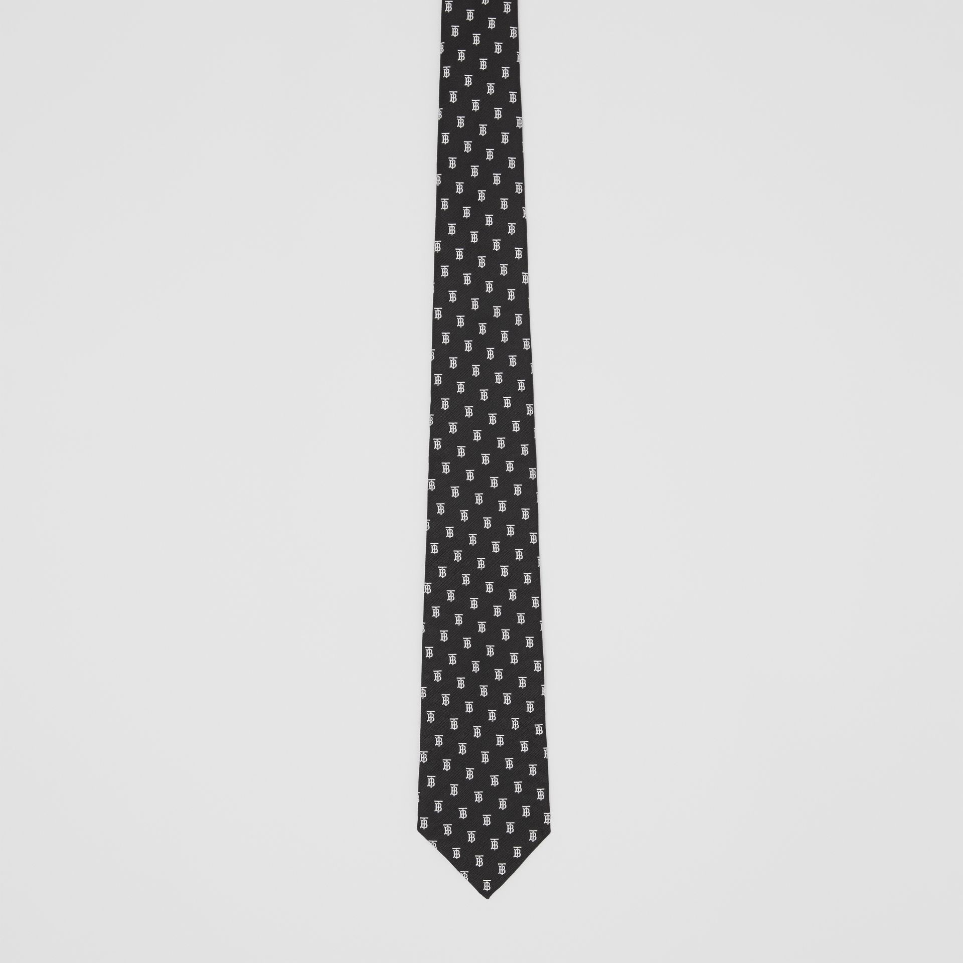 Classic Cut Monogram Motif Silk Jacquard Tie in Black - Men | Burberry United Kingdom - gallery image 3