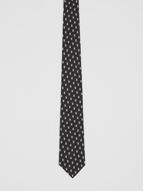 Classic Cut Monogram Motif Silk Jacquard Tie in Black - Men | Burberry United Kingdom - cell image 3