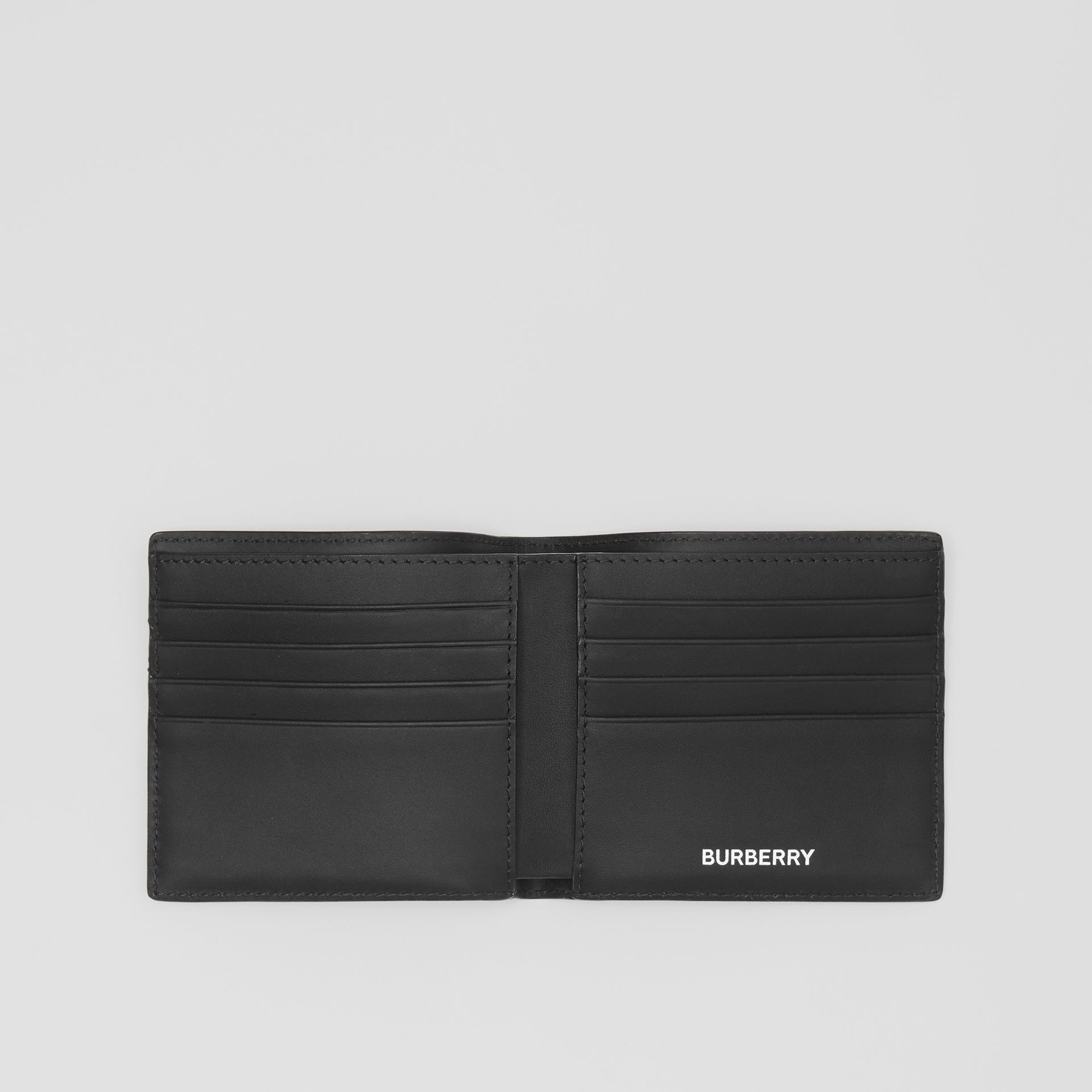 London Check and Leather International Bifold Wallet in Dark Charcoal - Men | Burberry United States - gallery image 2