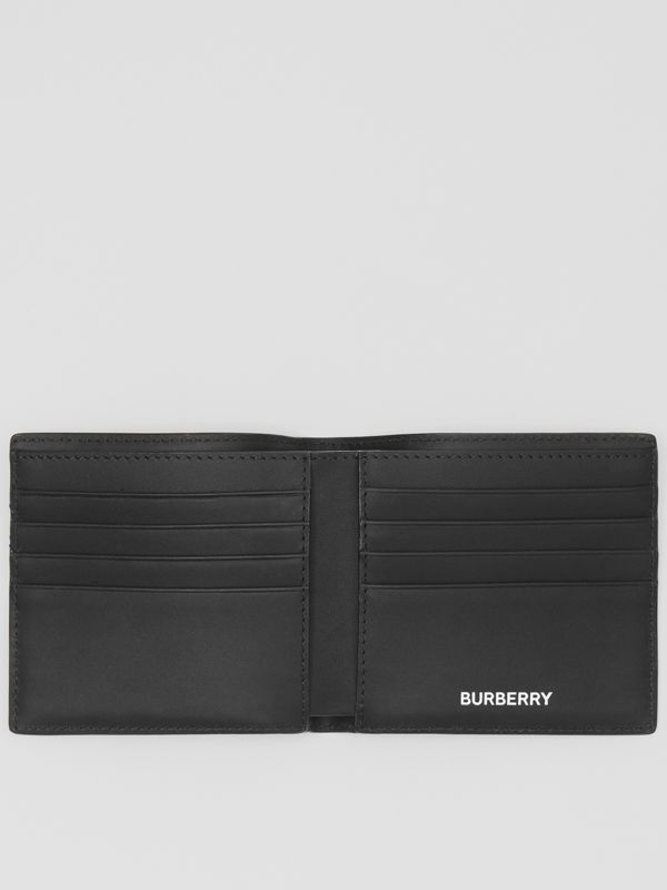 London Check and Leather International Bifold Wallet in Dark Charcoal - Men | Burberry - cell image 2