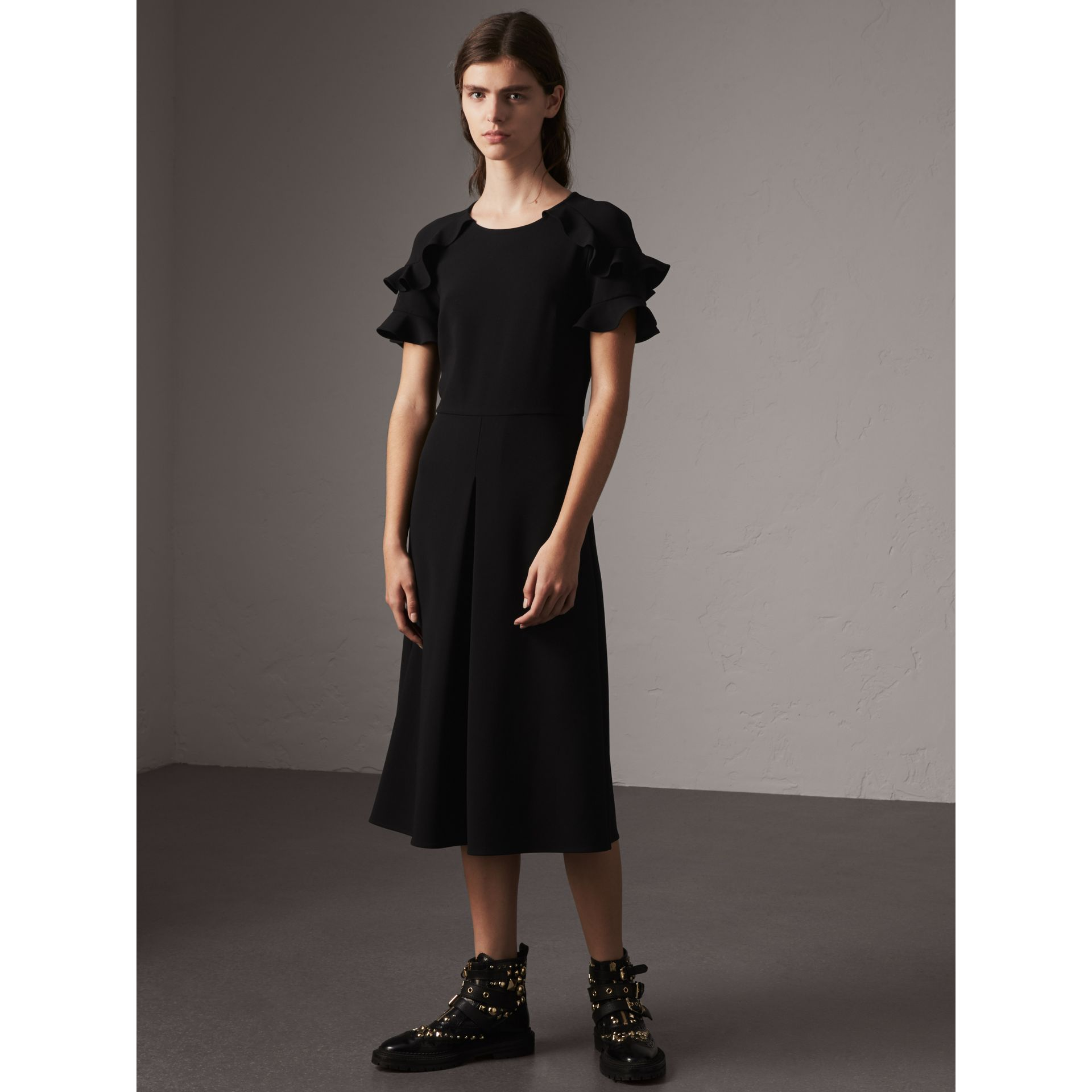 Ruffle Detail Short-sleeve Crepe Dress in Black - Women | Burberry - gallery image 1