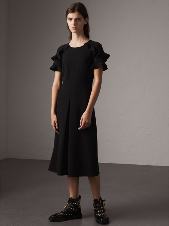 Ruffle Detail Short-sleeve Crepe Dress in Black