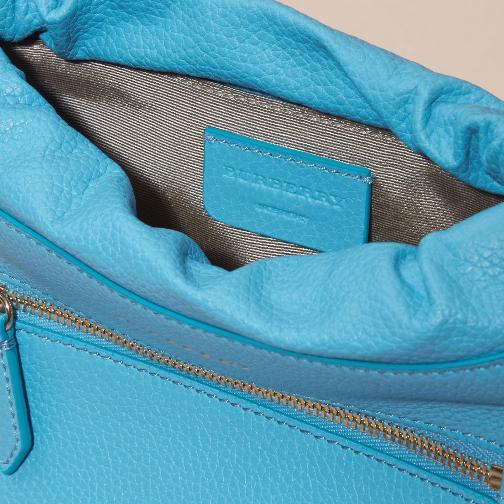 Bright mineral blue The Mini Crush in Grainy Leather Bright Mineral Blue - gallery image 4