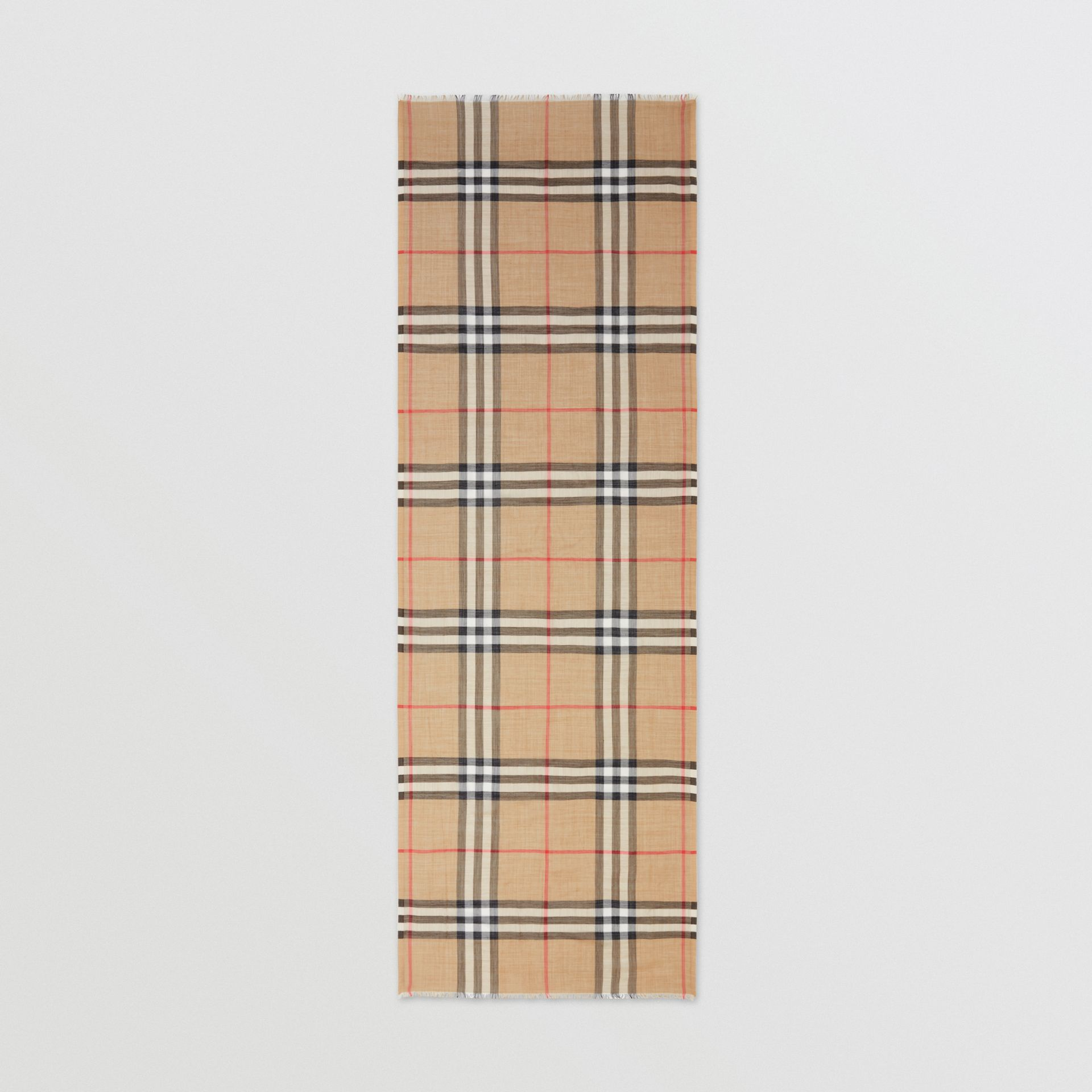 Lightweight Check Wool Silk Scarf in Archive Beige | Burberry - gallery image 5