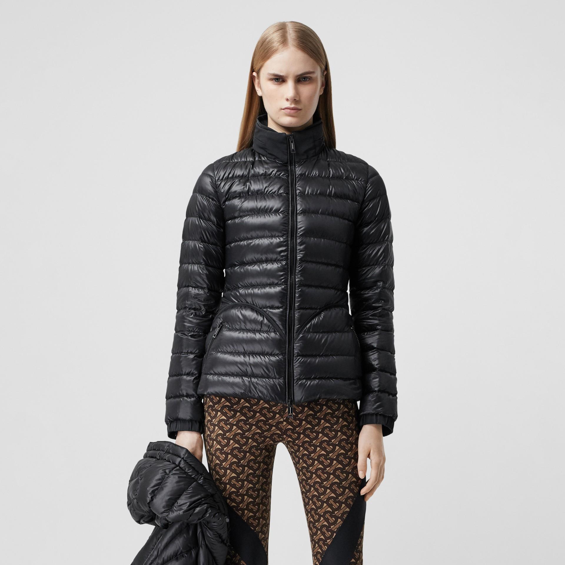 Packaway Hood Peplum Puffer Jacket in Black - Women   Burberry United Kingdom - gallery image 5