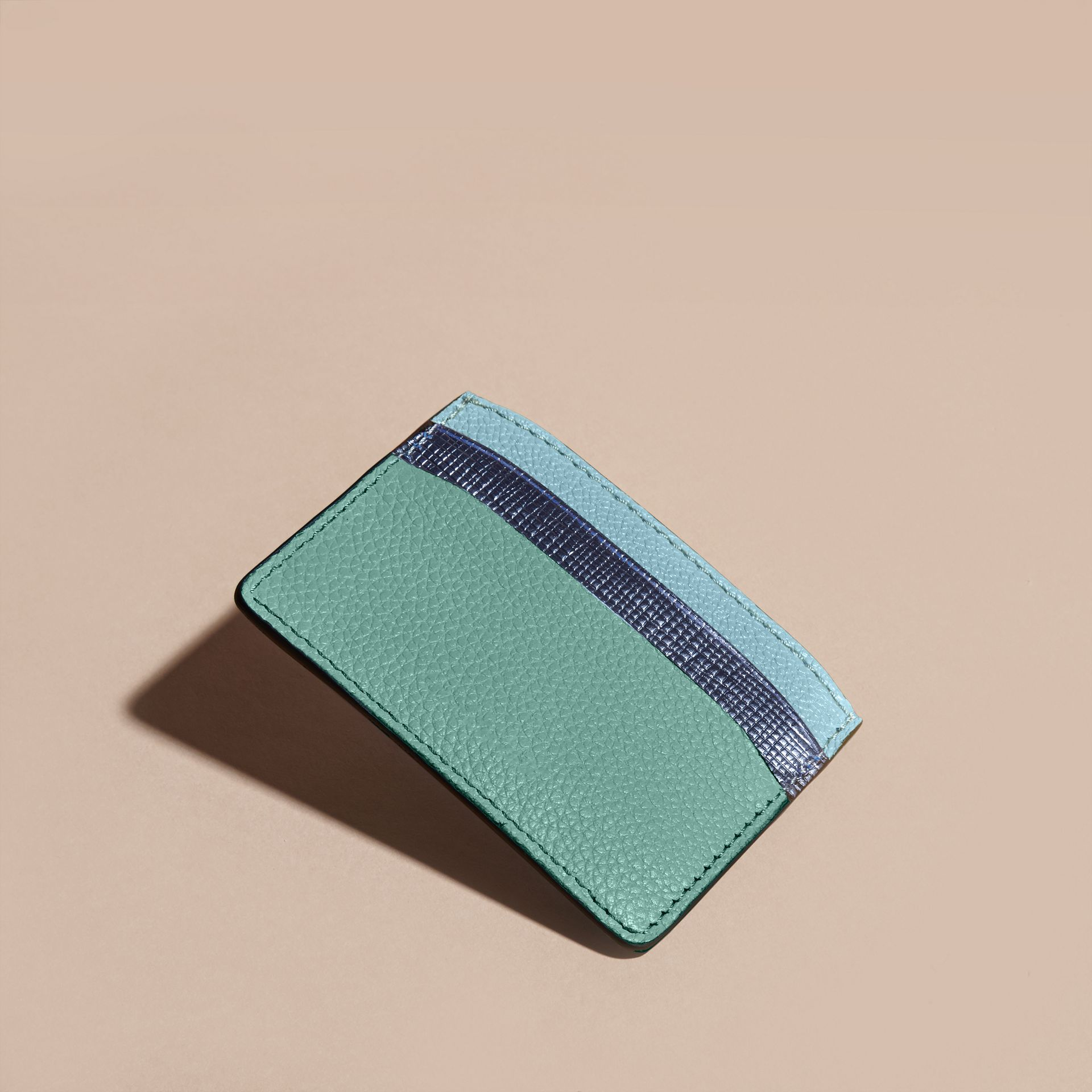 Colour Block Leather Card Case in Green - gallery image 4
