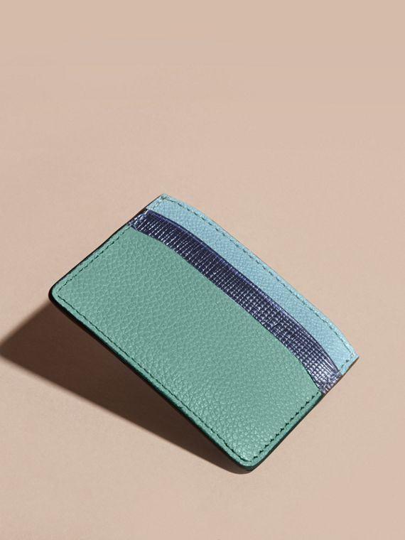 Colour Block Leather Card Case in Green - cell image 3
