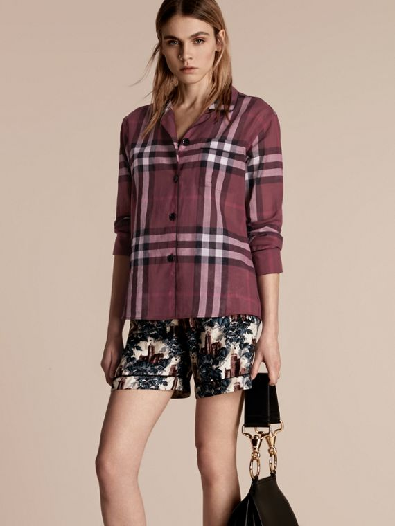 Check Cotton Pyjama-style Shirt in Magenta Pink - Women | Burberry