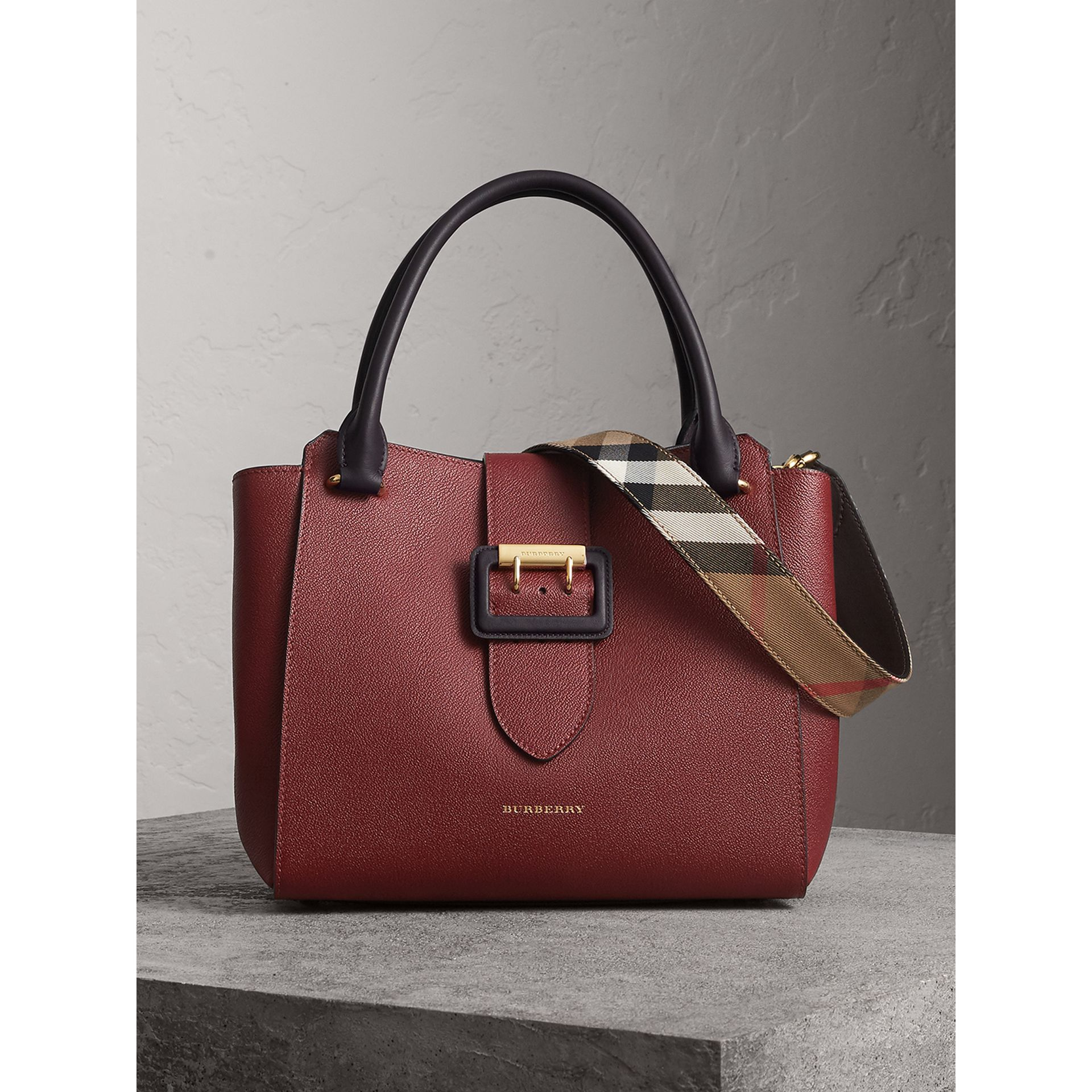 The Medium Buckle Tote in Two-tone Grainy Leather in Burgundy - Women | Burberry Australia - gallery image 0