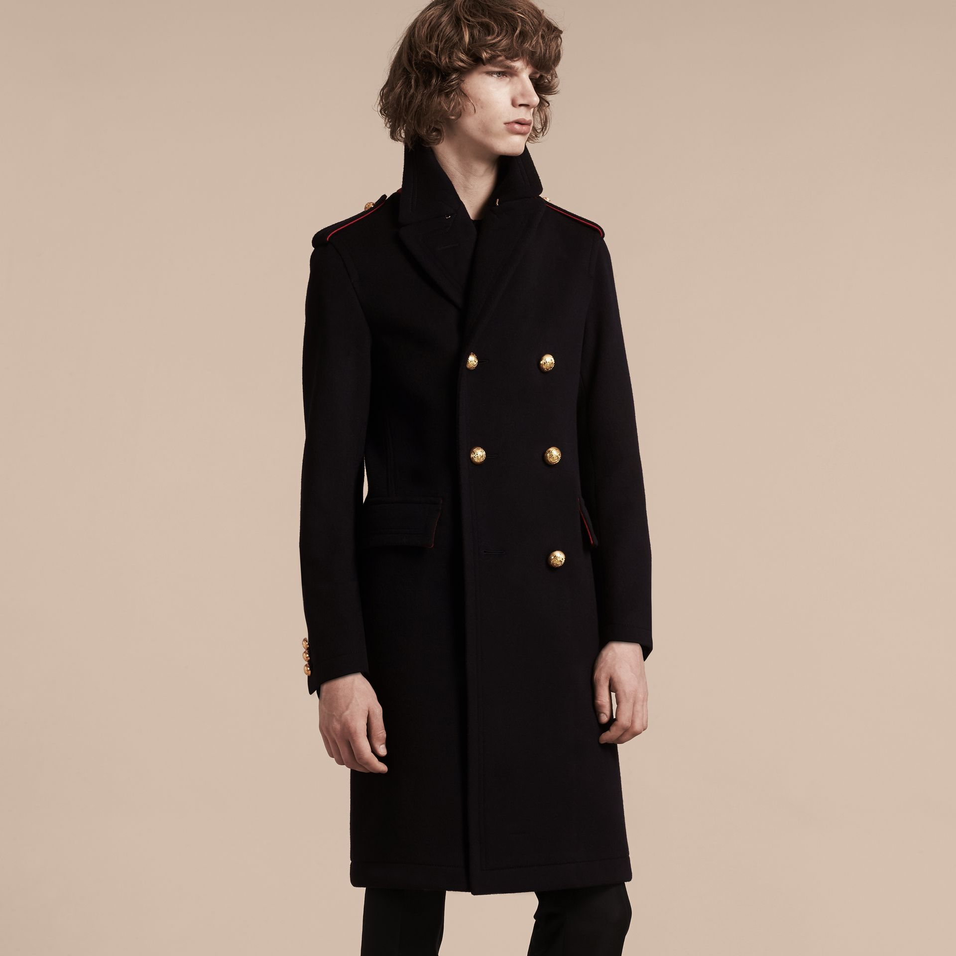Navy Technical Wool Military Overcoat - gallery image 7