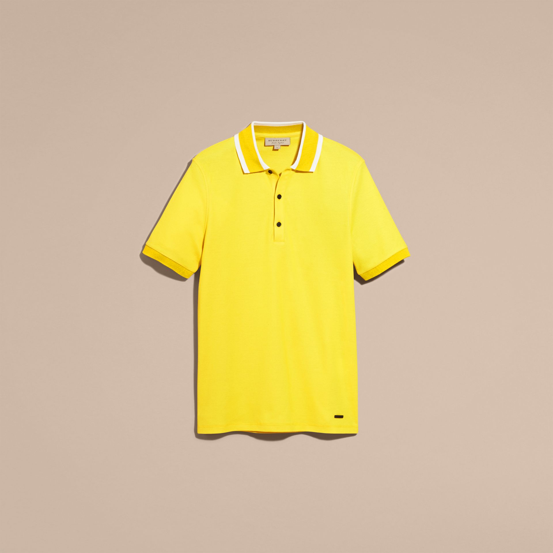 Striped Collar Cotton Piqué Polo Shirt Daffodil - gallery image 4